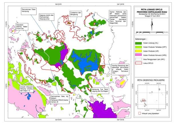 Peta areal DPCLS dalam SK Menhut 463