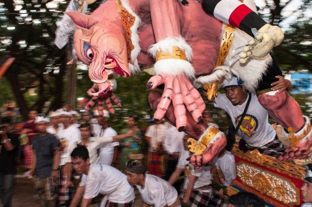 The Eve of Nyepi Day of Silence in Makassar, Indonesia