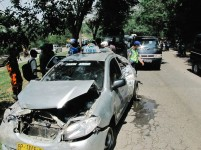 Kecelakaan di depan kawasan Southlink, Tiban.