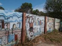 Mural di sebuah tembok di Batam Centre