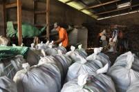 Pekerja mengemas kopra ke dalam karung di sebuah gudang kopra di Midai, Natuna