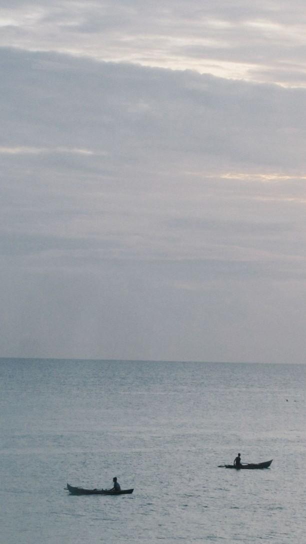 Dua kapal nelayan di lepas pantai Kota Gunung Sitoli, Nias.