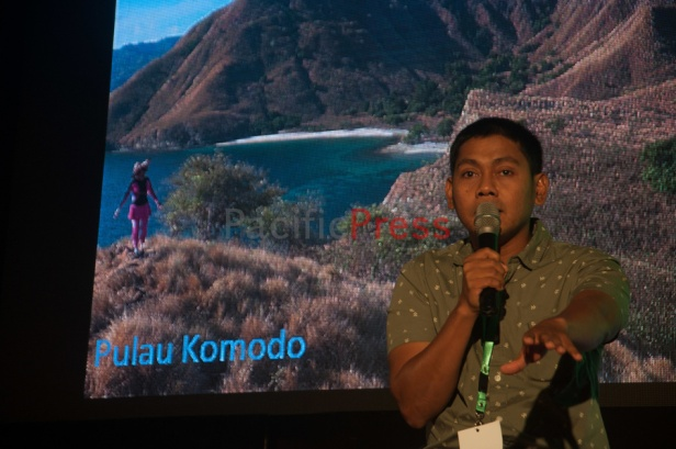 Travel owner Abdul Malik speaks at Eastern Indonesia Forum Festival. Malik bussiness was one of the first in Indonesia to promote the journey to Eastern Indonesia for the Indonesian.